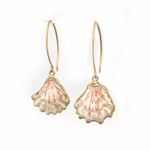 Sea and Stone Jewelry - Gold edged kitten paw shell drop earrings hung from gold vermeil hook ear wires.