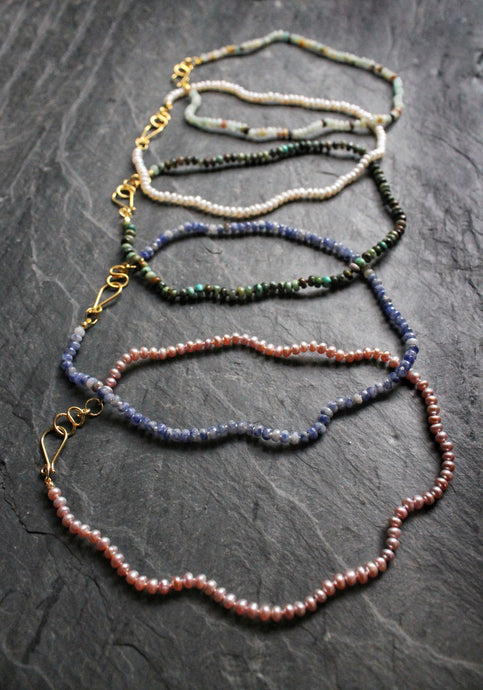 Sea and Stone Jewelry - Delicate, Hand-Knotted Gemstone Choker necklaces in Pearl, African Turquoise, Sodalite, and Amazonite with vermeil clasp.