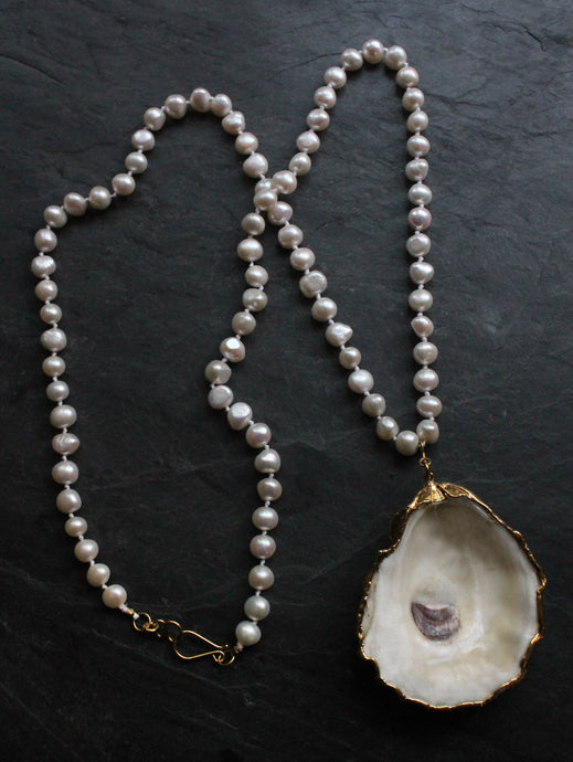 Sea and Stone Jewelry - Classic Pearl Necklace with Removable Gold Edged Oyster Pendant and Vermeil accents
