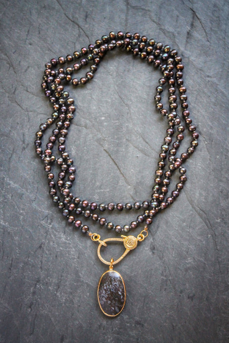 Pave Black Pearl Necklace with Dinosaur Bone