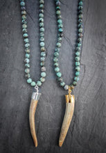 Long African Turquoise & Whitetail Deer Antler Necklace