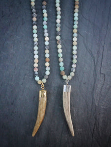 Sea and Stone Jewelry - Whitetail deer antler tip pendants hang from amazonite bead necklaces with gold or silver vermeil finishings.