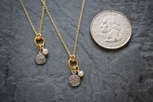 Sea and Stone Jewelry - Dainty Diamond Charm Necklace with Pearl Embellishment on Gold Chain with Vermeil Accents. Quarter for size example.