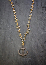 Sea and Stone Jewelry - A blackened silver anchor charm covered in pave diamonds hangs from a gold vermeil chain with a fringe of dainty pearls.