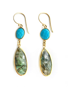 Sea and Stone Jewelry - Drop earrings featuring turquoise colored magnesite, dyed, over labradorite stones set in gold and hanging under gold vermeil hook ear wires.