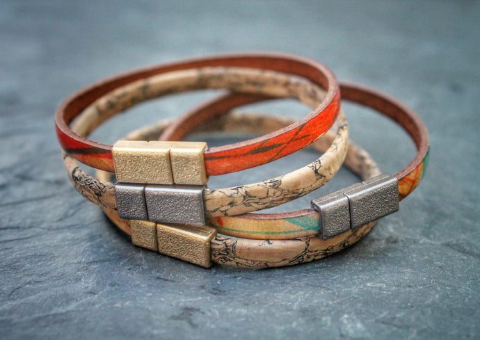 Sea and Stone Jewelry - Leather or cork single wrap bracelets with metallic gold or silver magnetic clasp. Shown in cork with gold or silver and leather with gold or silver clasps.