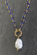 Dainty Lapis, Pearl, and Vermeil Necklace by Sea and Stone Jewelry