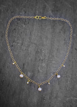 Sea and Stone Jewelry - A Delicate vermeil gold chain necklace with seven petite drop pearls in alternating sizes.