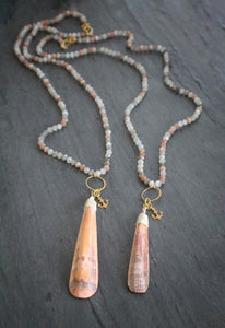 Moonstone & Lions Paw Scallop Ridge Necklace