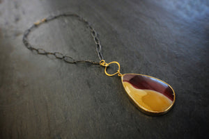 Garnet & Gold Mookaite Necklace