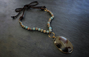 Sea and Stone Jewelry - Serpentine Gemstone Beaded Necklace with Montana Agate and Suede