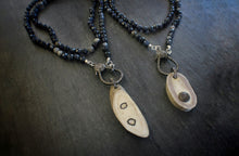 Sea and Stone Jewelry- Dumortierite and Sterling Silver Wrap Necklace with Pave Diamond Clasp and Deer Antler Charm