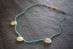 Sea and Stone Jewelry - Chinese turquoise bead necklace with three moonstone station pendants. Gold vermeil settings and clasp.