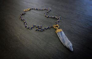 Raw Kyanite & Lapis Fringe Necklace