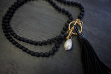 Sea and Stone Jewelry - Lava Bead, Vermeil Toggle, Baroque Pearl, and Black Leather Tassel Necklace
