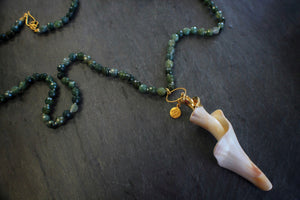 Sea and Stone Jewelry Broken Seashell and Moss Agate Gemstone Necklace