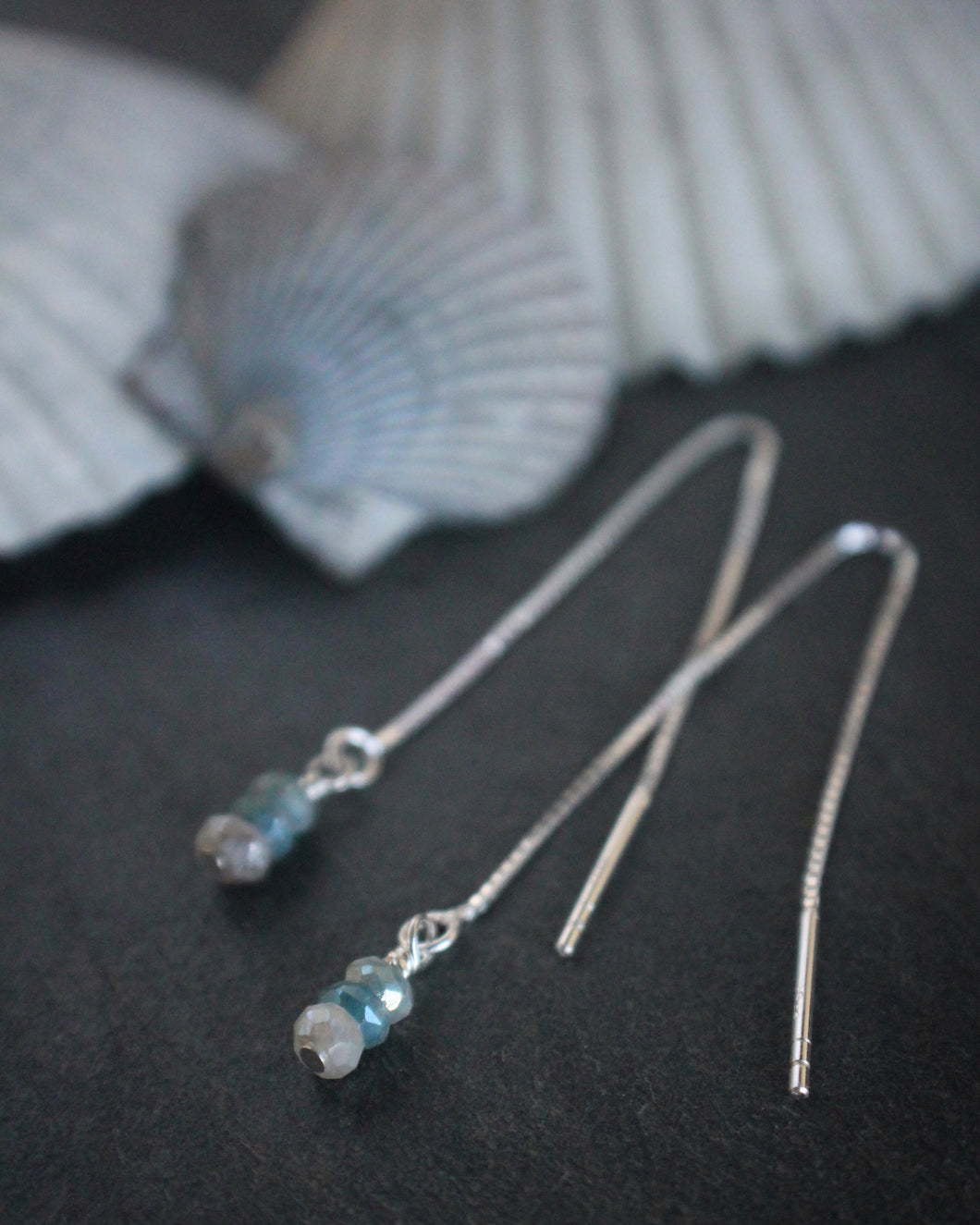 Sea and Stone Jewelry Ombre Sapphire & Sterling Threader Earrings