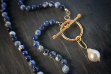 Sea and Stone Jewelry Sodalite Toggle Wrap Necklace with Baroque Pearl Close Up