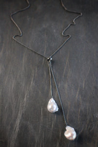 Sea and Stone Jewelry - Large adjustable baroque pearl lariat necklace on Blackened sterling silver.