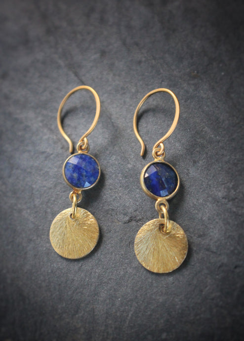 Sea and Stone Jewelry - Drop earrings featuring textured gold vermeil disks and lapis lazuli set in vermeil, dangling under gold hook ear wires.