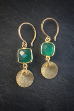 Sea and Stone Jewelry Green Onyx and Vermeil Disk Earrings