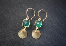 Sea and Stone Jewelry Green Onyx and Vermeil Disk Earrings 2
