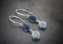 Sea and Stone Jewelry - Drop earrings featuring shimmery druzy stones and lapis lazuli, both set into sterling silver, dangling from silver hook ear wires. Side view