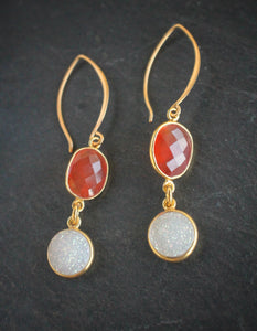 Sea and Stone Jewelry - Carnelian & Druzy drop Earrings on vermeil wire