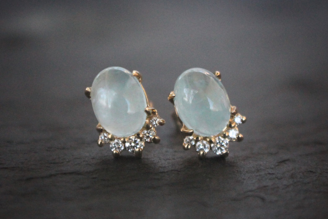 Sea and Stone Jewelry Aquamarine, Diamond, and 14k Yellow Gold Stud Earrings