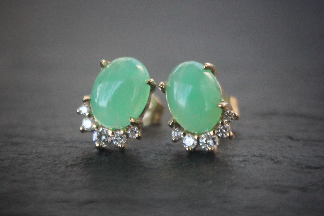 Sea and Stone Jewelry -  Stud earrings featuring chrysoprase cabochons set in 14 karat yellow gold with a curve of four diamonds underneath.