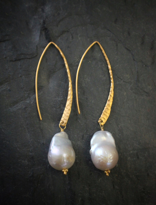 Sea and Stone Jewelry Baroque Pearl Earrings on Hammered Vermeil Earwires