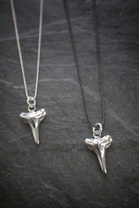 Sea and Stone Jewelry - Sterling silver shark teeth necklaces on blackened or shiny silver chain