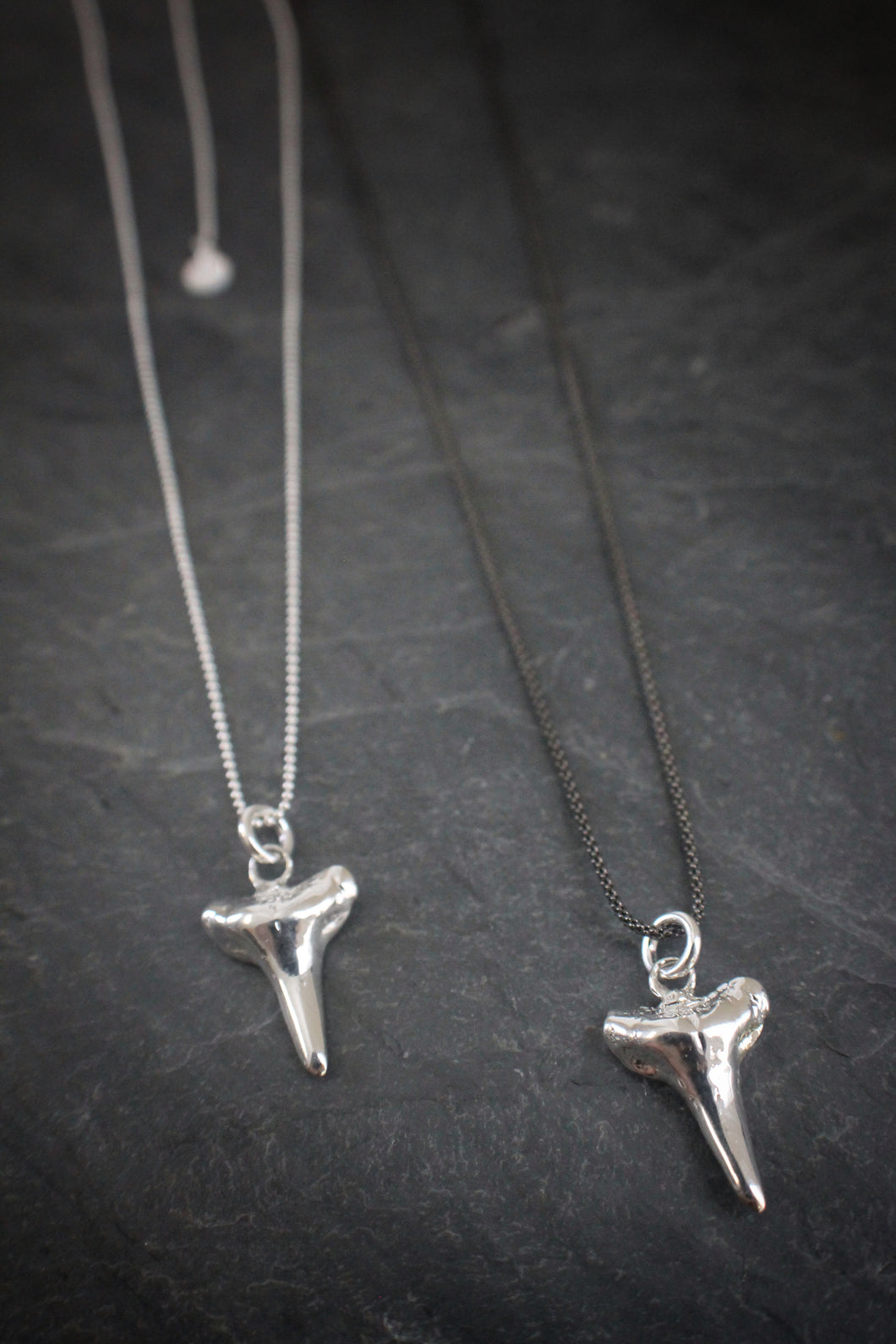 Sea and Stone Jewelry - Sterling silver petite cast sharks teeth on blackened or shiny silver chain