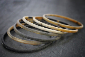 Sea and Stone Jewelry - Set of 7 matte finish horn bangle bracelets