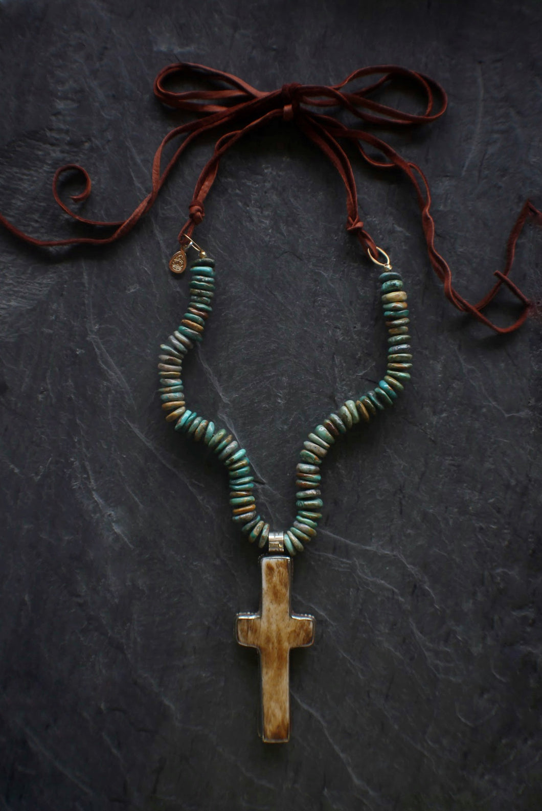 Sea and Stone Jewelry Cross, Turquoise, Suede Necklace
