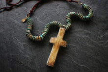 Sea and Stone Jewelry Horn Cross, Turquoise, Suede Necklace