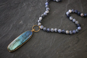 Sea and Stone Jewelry | Long Sodalite Necklace with Elongated, Oval-Shaped Labradorite Pendant