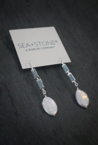 Sea and Stone Jewelry - Sterling Silver Earrings with Bezel Set Chalcedony Stones and Pearl Drops