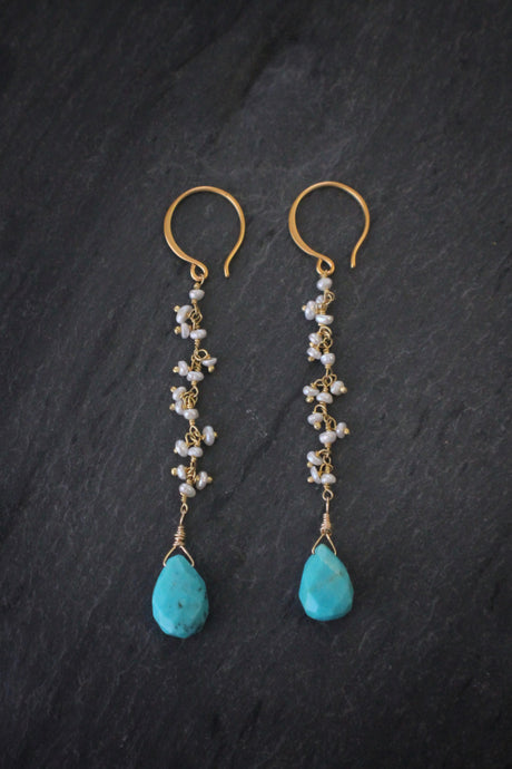 Sea and Stone Jewelry - Pearl Fringe Earrings in Vermeil with Turquoise Drops