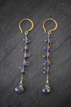 Sea and Stone Jewelry - Lapis Lazuli and Corundum Fringe Earrings in Vermeil