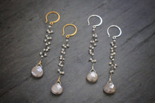 Sea and Stone Jewelry - Pearl fringe chain earrings in Sterling Silver or Vermeil with Moonstone teardrops