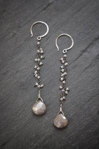 Sea and Stone Jewelry - Pearl fringe chain earrings in Sterling Silver with moonstone teardrops