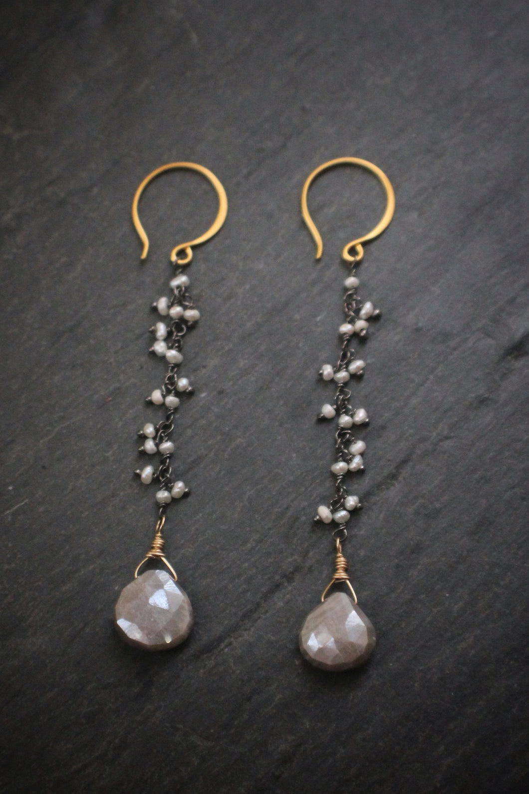 Sea and Stone Jewelry - Pearl fringe chain earrings in Vermeil with Moonstone teardrops