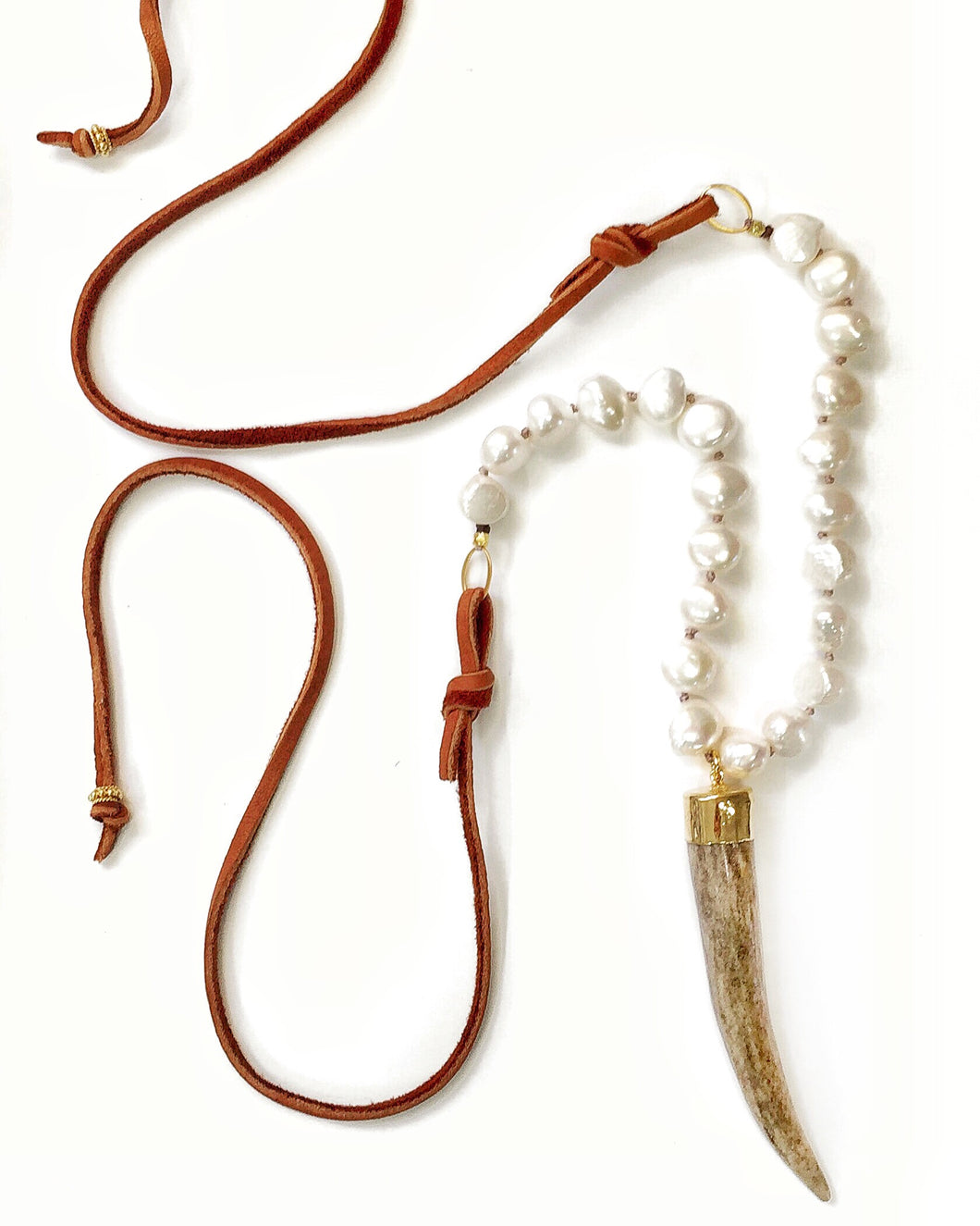 Sea and Stone Jewelry - Gold Tipped Whitetail Deer Antler Pendant with White Cultured Pearls Hand-knotted on Silk Thread with Vermeil Components and Finished in Ultra Soft Deerskin Suede