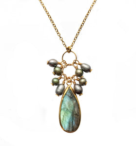 Short Labradorite & Pearl Cluster Necklace
