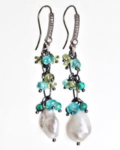 Sea and Stone Jewelry - Drop pearl earrings with fringe of dainty gemstones including: African turquoise, apatite and vessuvianite. All hang from blackened silver hooks set with white topaz.
