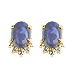 Sea and Stone Jewelry -  Stud earrings featuring lapis lazuli cabochons set in 14 karat yellow gold with a curve of four diamonds underneath. Darker royal blue lapis shown.