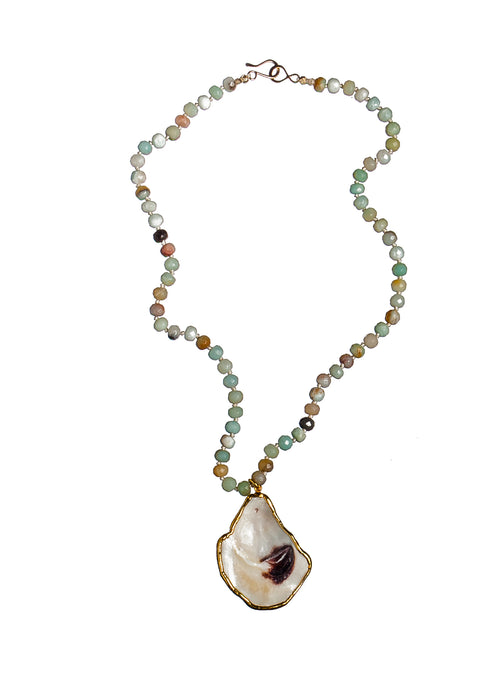 Short Oyster & Amazonite Necklace
