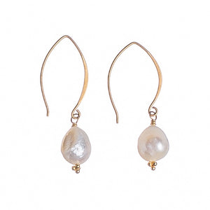 Sea and Stone Jewelry -  A simple drop earring with hand wrapped pearls under gold vermeil crescent ear wires.