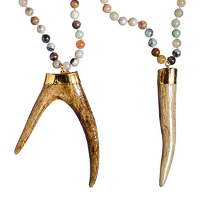 Sea and Stone Jewelry - Whitetail deer antler tip pendants hang from amazonite bead necklaces with gold vermeil finishings. Antlers shown are forked and pointed tip.